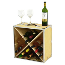 Rhino Trunk Wine Rack with bottle and glasses.