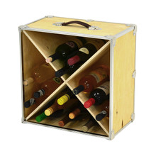Rhino Trunk Wine Rack with bottles.
