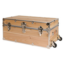 Rhino Large Cedar Storage Trunk with removable wheels attached.