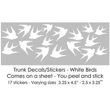 White Birds Trunk Decals/Stickers