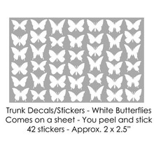 White Butterflies Trunk Decals/Stickers