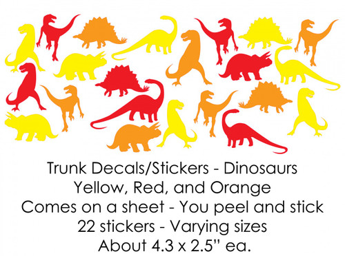Yellow, Red and Orange Dinosaurs Trunk Decals/Stickers