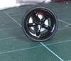 Large Black 5 Round-Spoke Wheels & Lo Profile Tires, 1/25, 1/16