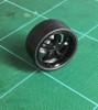 Large Black Flat/Rib -5-Spoke Wheels & Lo Profile Tires, 1/25, 1/16