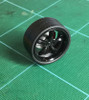 Large Flat/Rib -5-Spoke Black Wheels & Lo Profile Tires, 1/25, 1/16