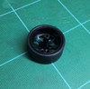Large 8 Flat Tapered-Spoke Black Wheels & Lo Profile Tires, 1/25, 1/16