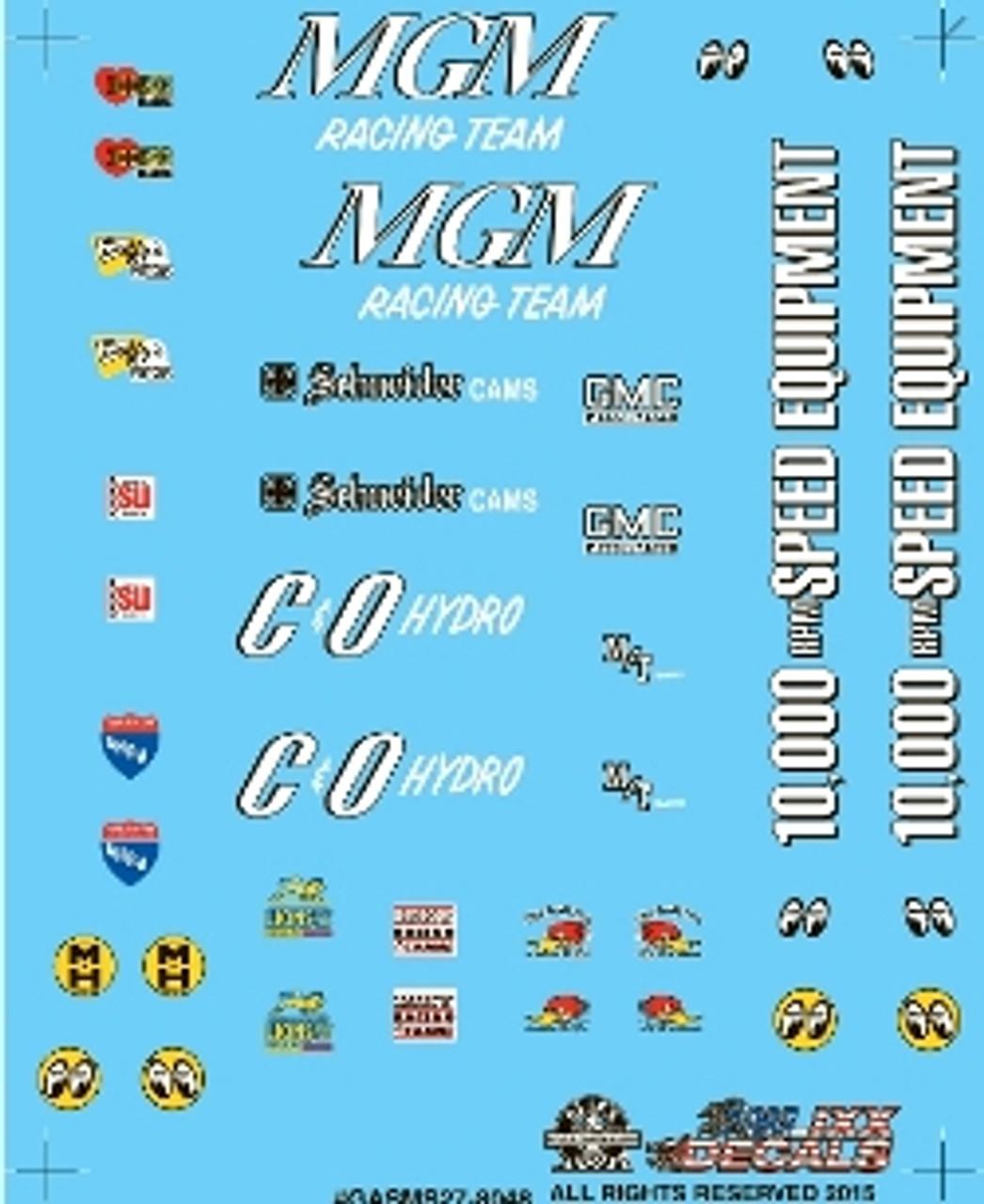 Nostalgia Drag Racing Mini Decal Sheet #27 1/25