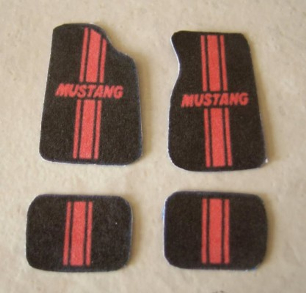 Floor Mats, Mustang/Red Stripe, 1/25