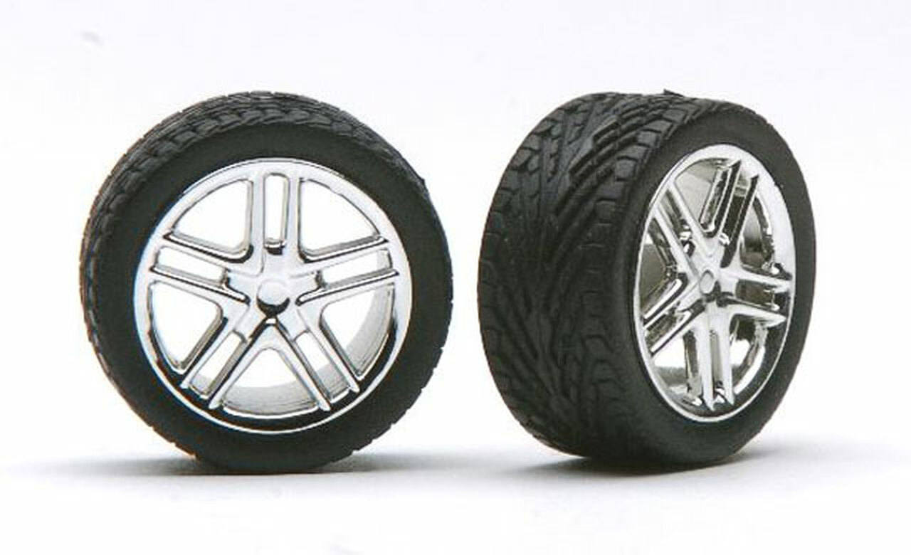 Allantes Chrome Wheels & Tires (2 pair) 1/24