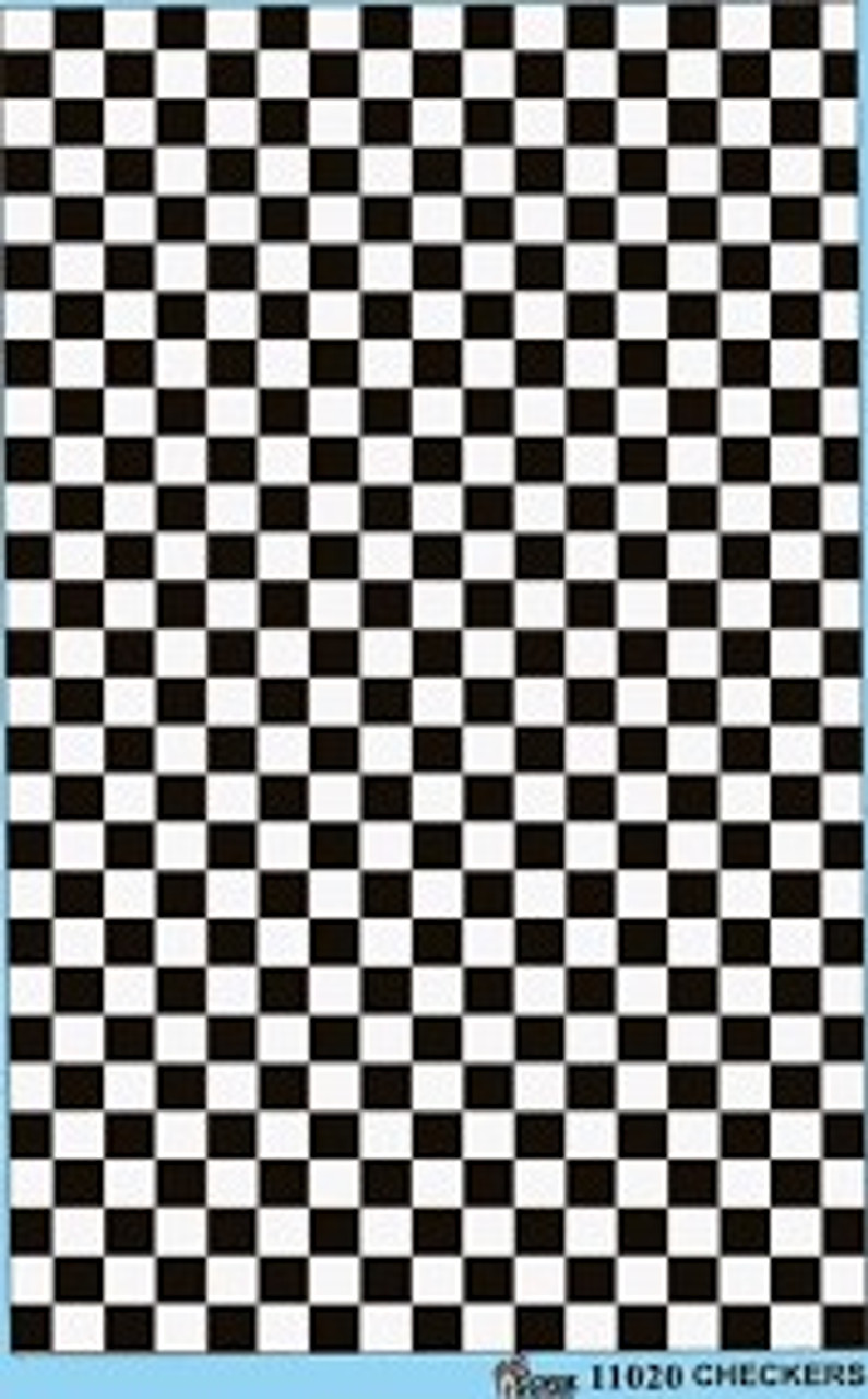 Black & White Checkerboard Squares, Decal, 1/25