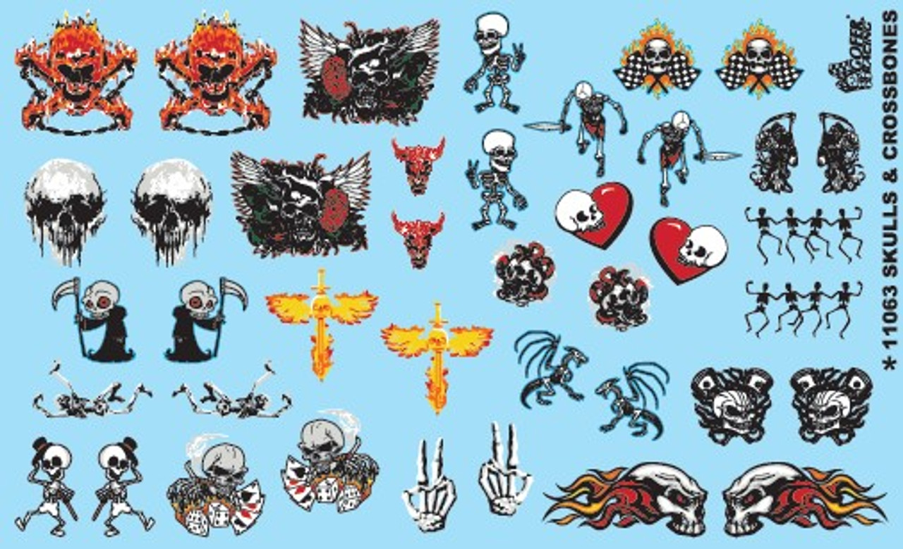 Skulls, Skeletons,  etc Decals, 1/25