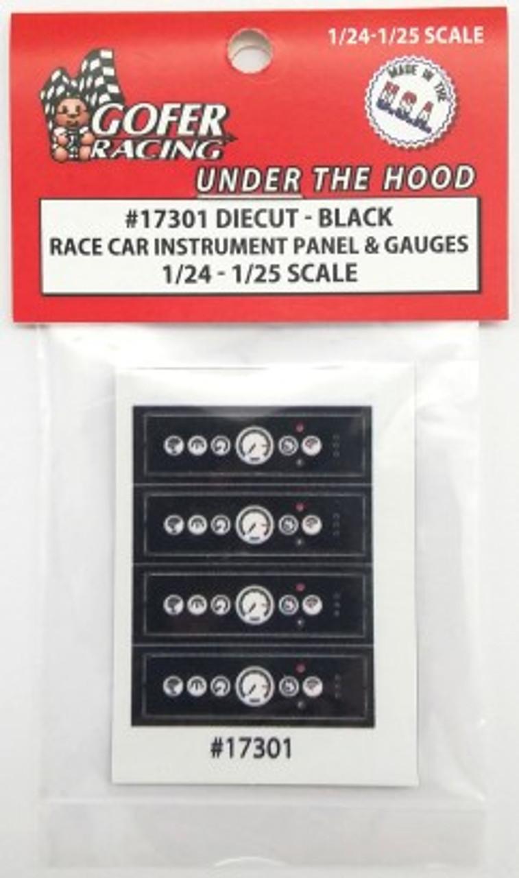 Race Car Instrument Panel & Gauge Cluster, Black 1/24-1/25