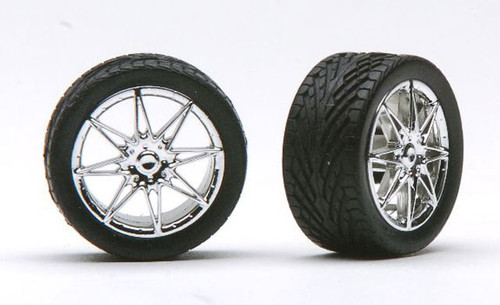 Diamante's Chrome Wheels & Tires (2 pair) 1/24