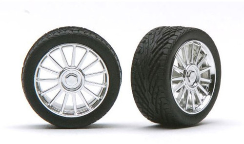 Spider Chrome Wheels & Tires (2 pair) 1/24-1/25