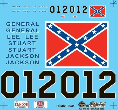 General Lee Mini Decal Sheet 1/25