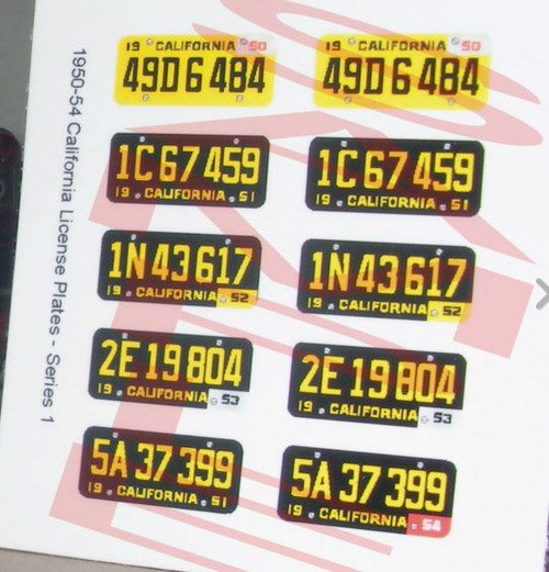 California License Plates '50-'54, 1/25