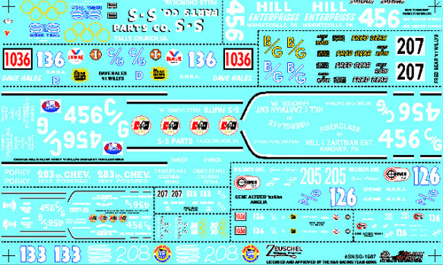 S&S Gasser Decal Sheet #3 1/25
