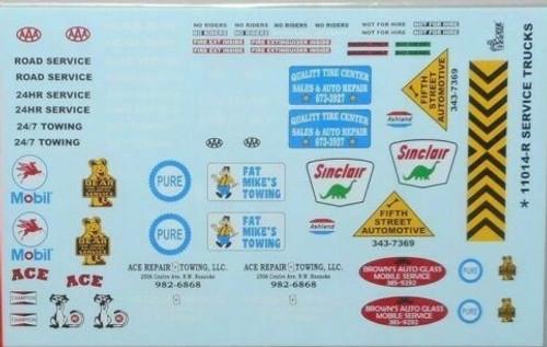Service Truck, Gas Station, Wrecker Decal Sheet,  1/25