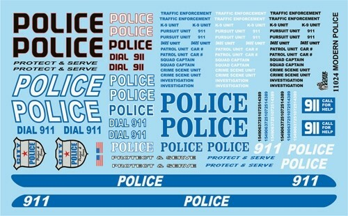 Modern Police Graphics Decals, 1/25