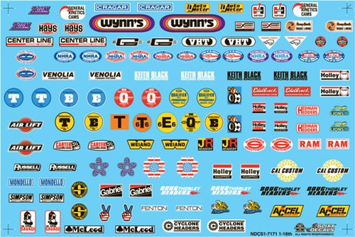 Nostalgia Drag Racing Contingency Decal Sheet 1/16