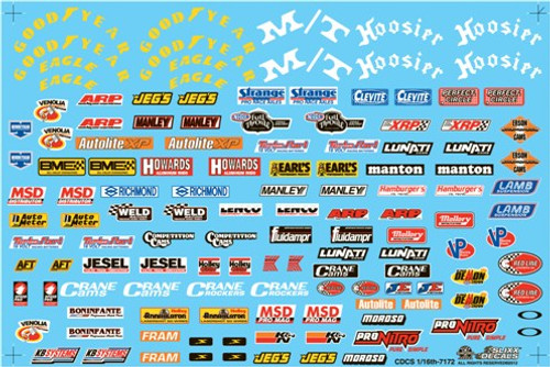 Current Style Drag Racing Contingency Decal Sheet 1/16