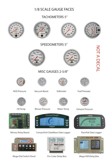 Autometer Gauge Faces - Tachs, Speedos, Boost, Nitrous & More 1/8