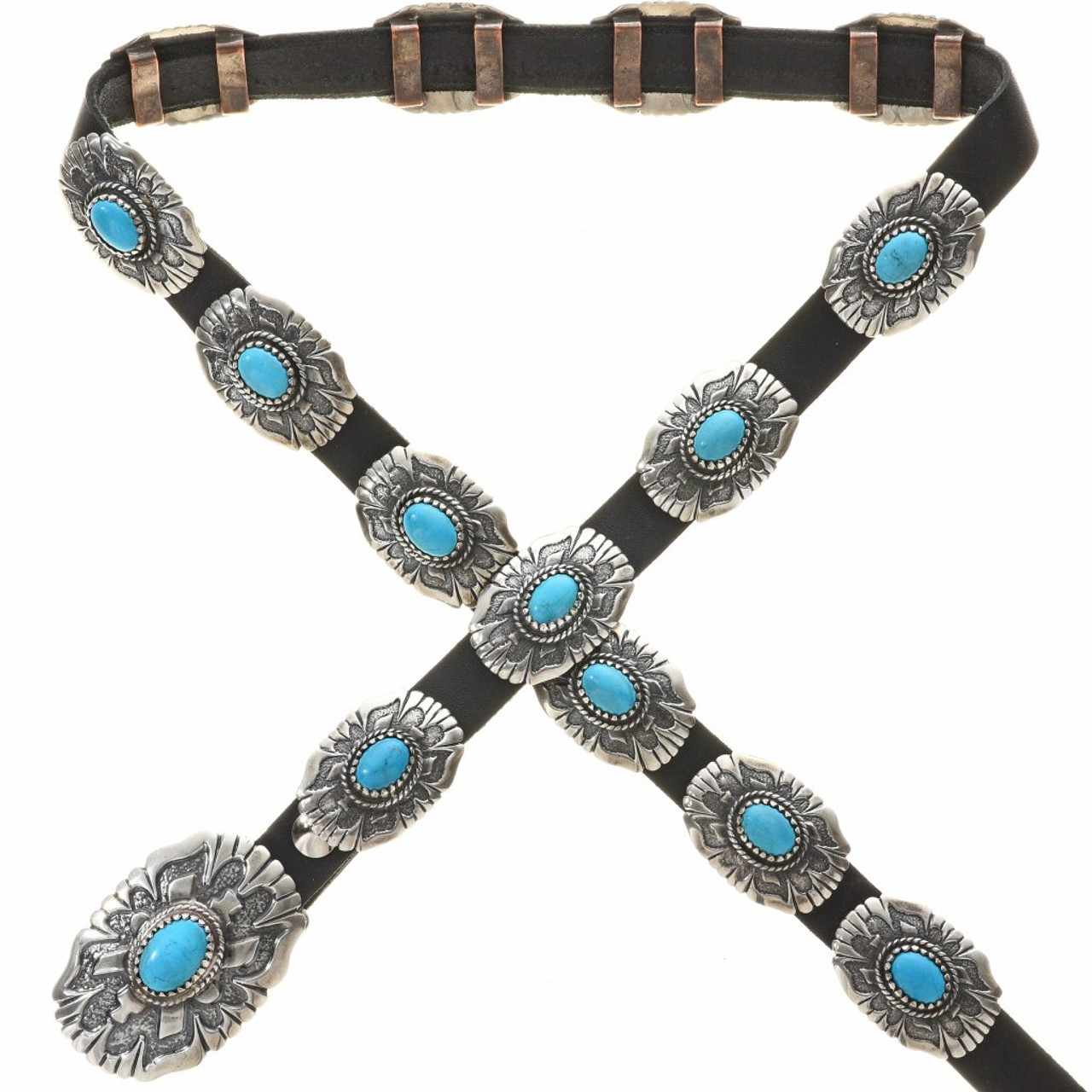 Sterling Silver Concho Belt By Tom Ahasteen