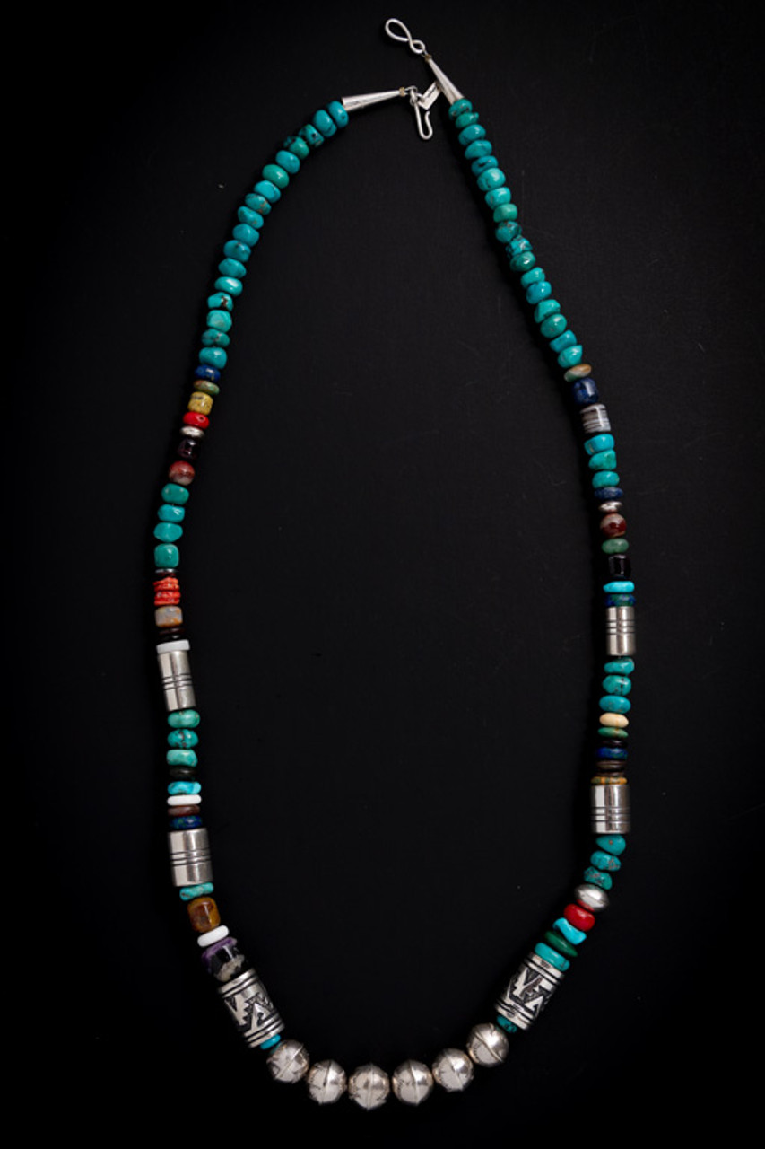 Tommy Singer Gemstone & Sterling Silver Beaded Necklace