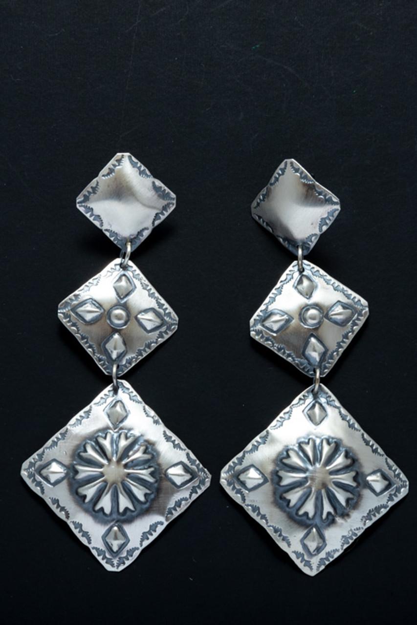 Tim Yazzie Sterling Silver Concho Style Dangle Earrings