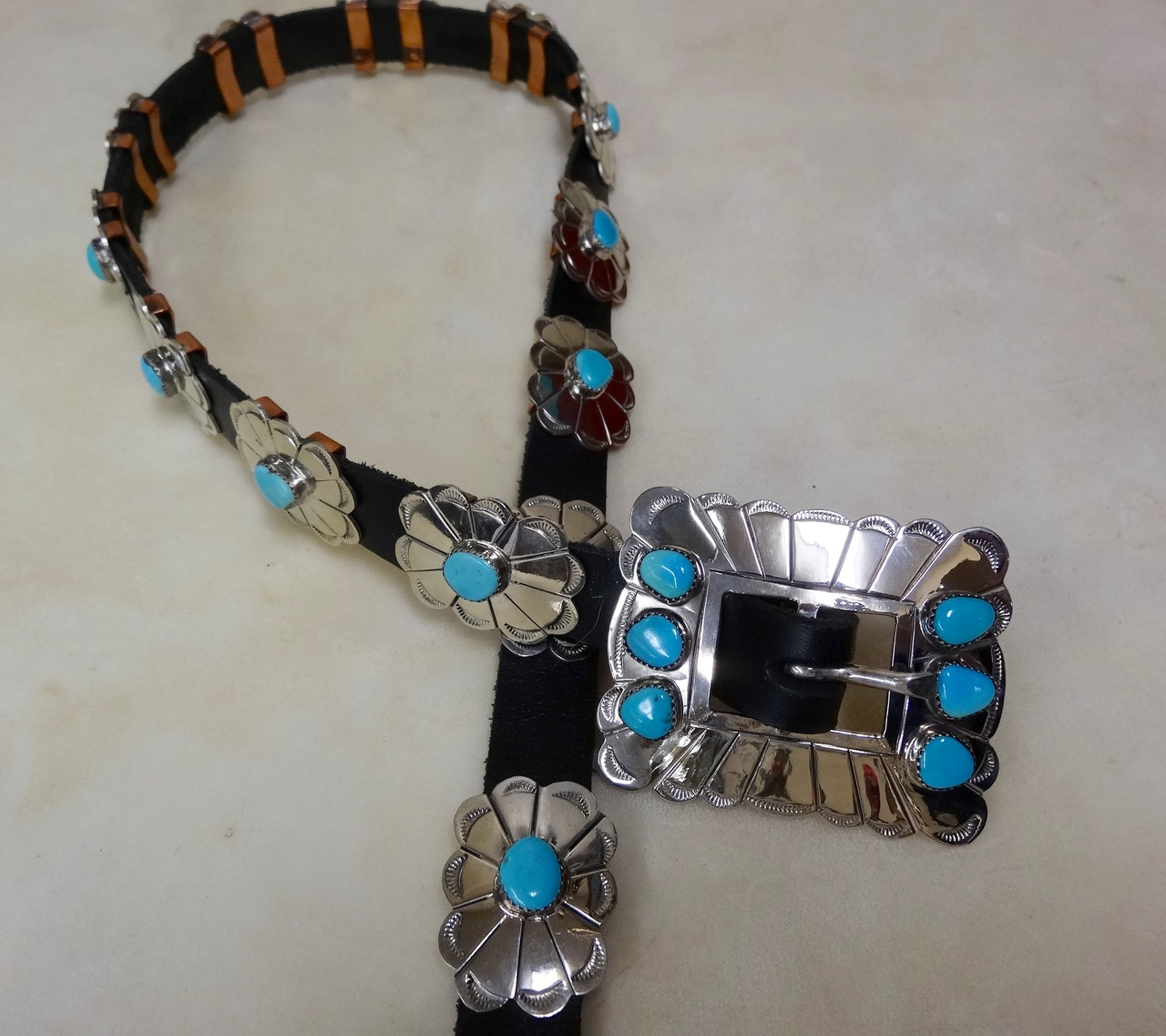 Turquoise And Silver Rocky Style Concho Belt