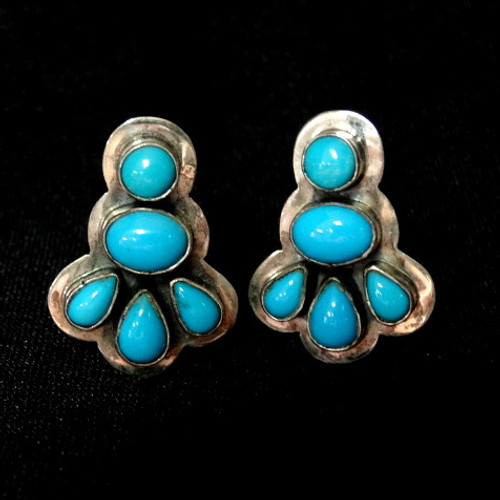 068d4c400 Bezel-set Sleeping Beauty Turquoise Clip Earrings by Navajo, Mario D