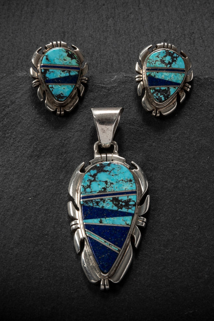 518a6f550 Turquoise, Lapis and Sterling Silver Earrings & Pendant, Vintage 3-Piece Set