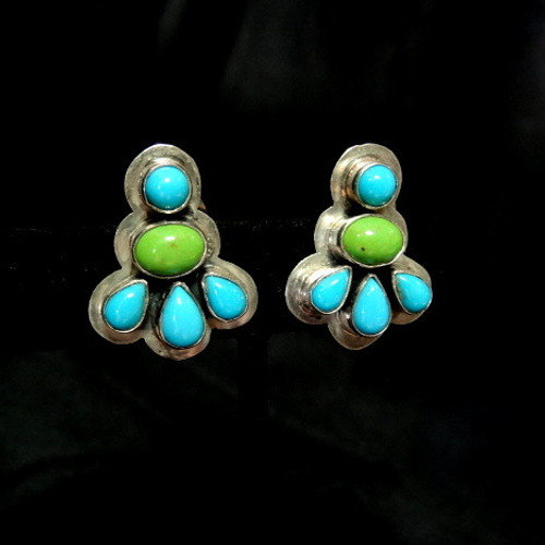 b798e8089815 Sleeping Beauty Turquoise and Gaspeite Clip Earrings by Navajo