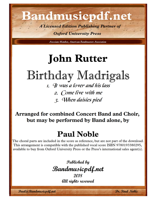 Birthday Madrigals (Complete: mvmts. 1, 3, and 5)