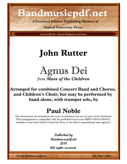 Agnus Dei, from Mass of the Children