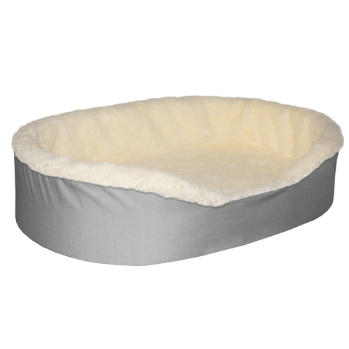 """Extra Large Dog Bed King Original Cuddler Pet Bed. Gray/Imitation Lambswool. Machine Washable Cover. Free Shipping. 40 x 28 x 7"""" Pets Up To 100 lbs"""