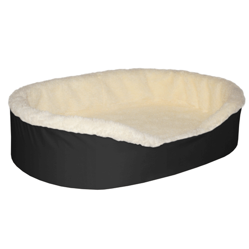"""Large  Dog Bed King Original Cuddler Pet Bed. Black/Imitation Lambswool. Machine Washable Cover. Free Shipping. 33 x 23 x 7"""".  Pets Up To 50 lbs"""