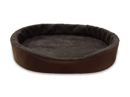 """American Made 33"""" Large Dog Bed King Cuddler. Brown Exterior With Brown Imitation Lambswool Interior. Removable Washable Cover."""