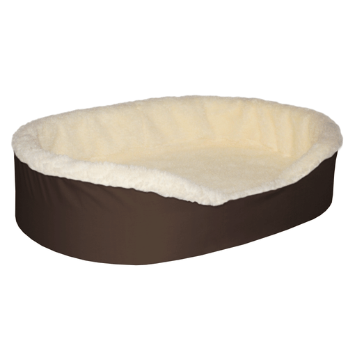 """Medium Dog Bed King Original Cuddler Pet Bed. Brown/Imitation Lambswool. Machine Washable Cover. Free Shipping. 27 x 21 x 7"""". Pets Up To 35 lbs."""