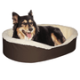 "Large  Dog Bed King Original Cuddler Pet Bed. Brown/Imitation Lambswool. Machine Washable Cover. Free Shipping. 33 x 23 x 7"". Pets Up To 50 lbs"