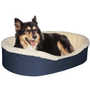 "Medium  Dog Bed King Original Cuddler Pet Bed. Navy/Imitation Lambswool. Machine Washable Cover. Free Shipping. 27 x 21 x 7"". Pets Up To 35 lbs."