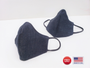Made in USA Face Mask Covering 2-Pack Blue Denim, Shaped Design. Cotton Lined Washable, Reusable.