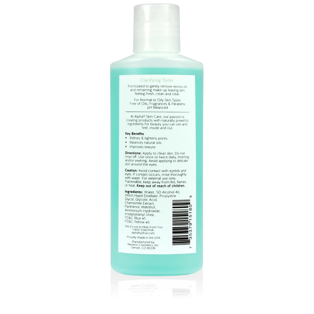Product Shot Back Alpha Skin Care Clarifying Toner