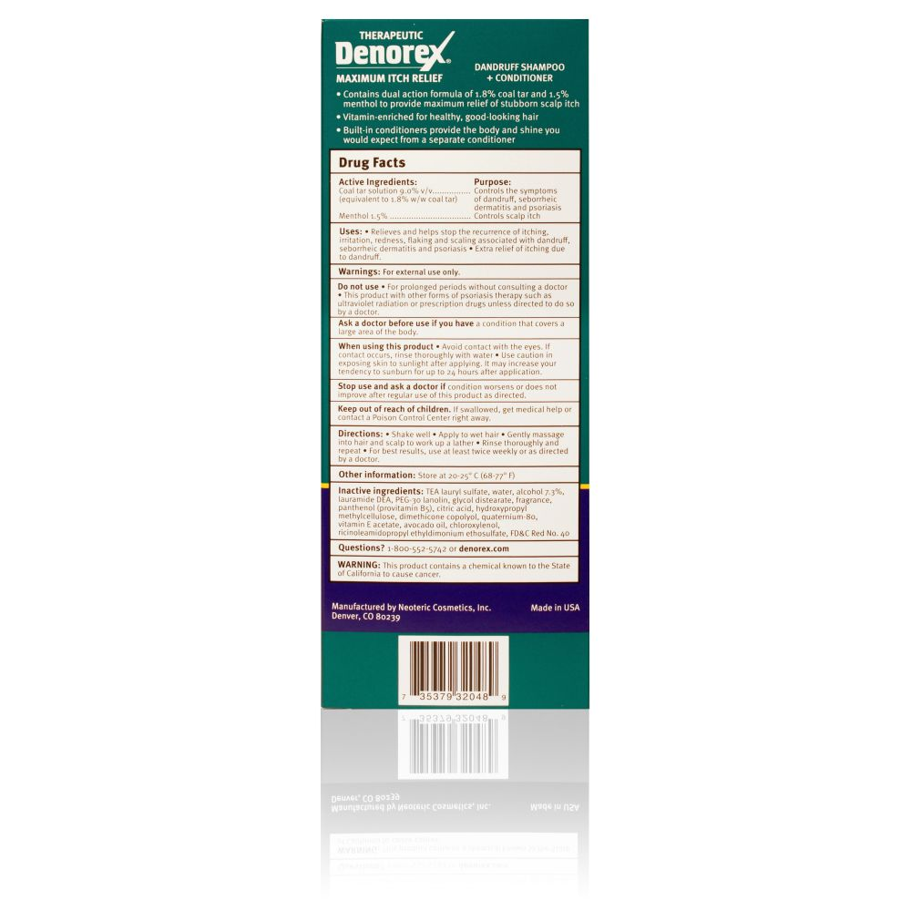 Box Shot Back Denorex Maximum Itch