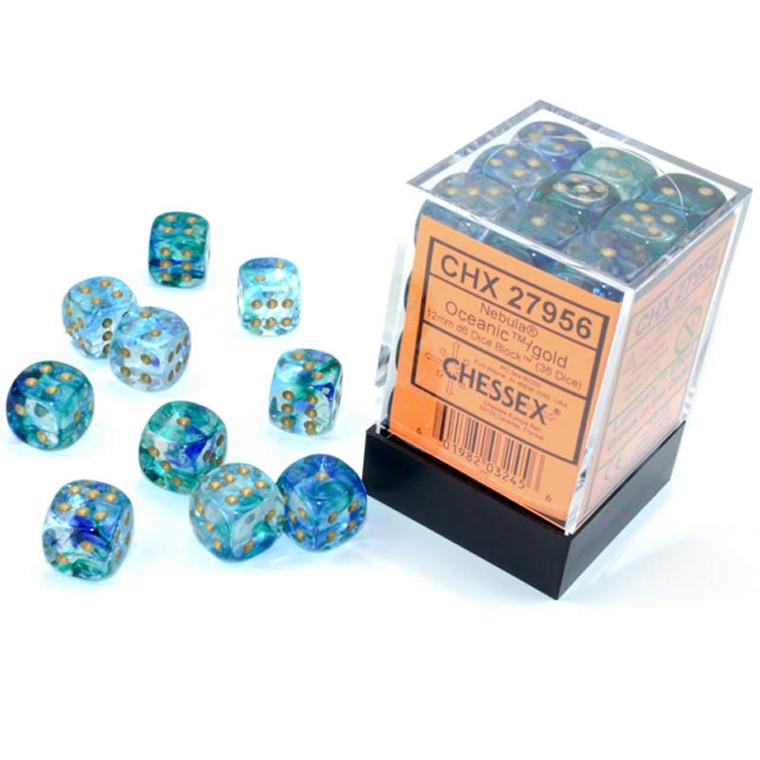 12mm d6 Dice Block (36): Nebula Oceanic/gold