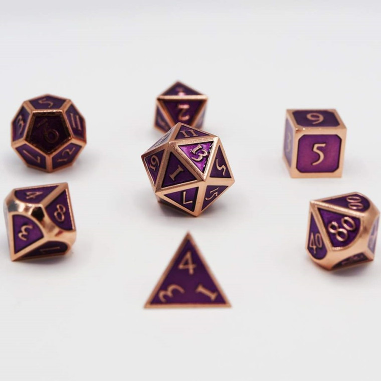 Metal RPG Dice Set: Copper with Amethyst