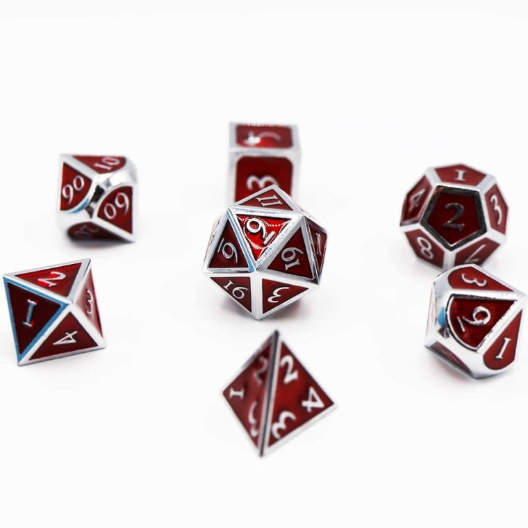 Metal RPG Dice Set: Silver with Ruby