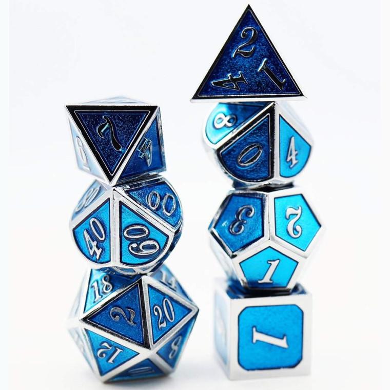 Metal RPG Dice Set: Silver with Tanzanite