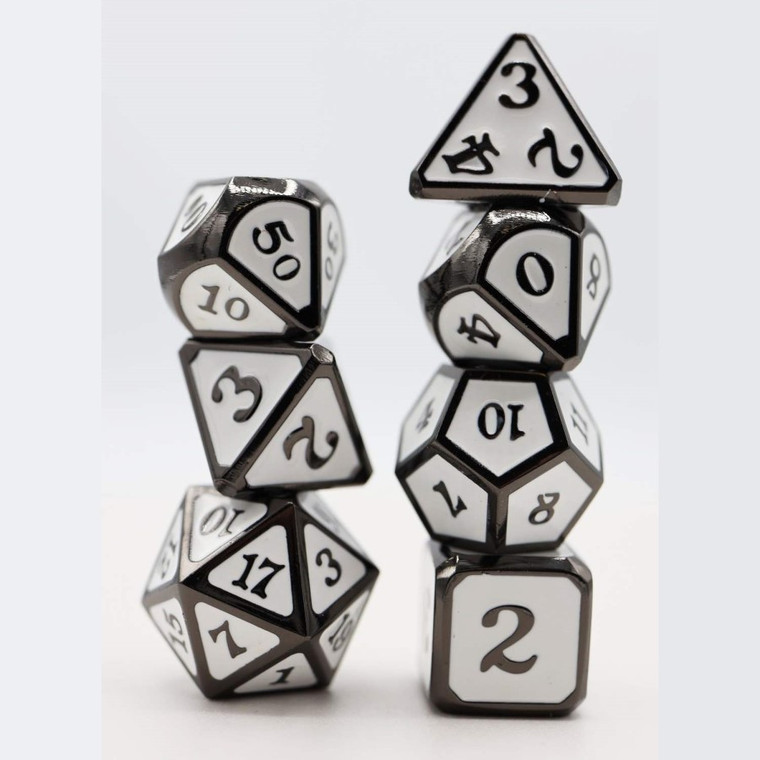Metal RPG Dice Set: Snow and Ashes