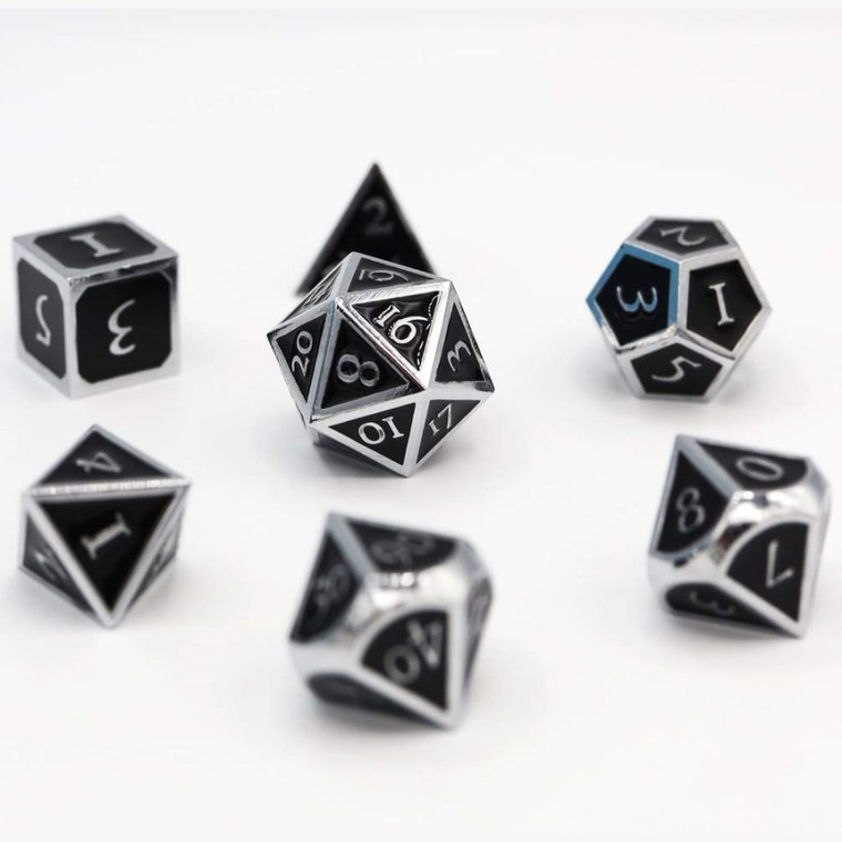Metal RPG Dice Set: Silver with Onyx
